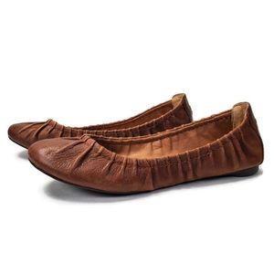 Lucky Brand Erla Leather Shirred Ballet Flats